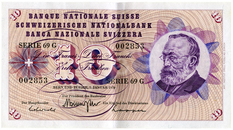 1000 Swiss francs, 1967, grading almost uncirculated