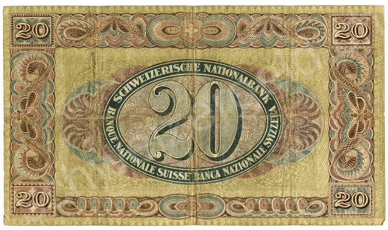1000 Swiss francs, 1961, grading very fine