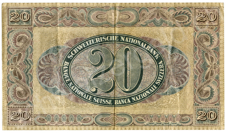 1000 Swiss francs, 1965, grading extremely fine